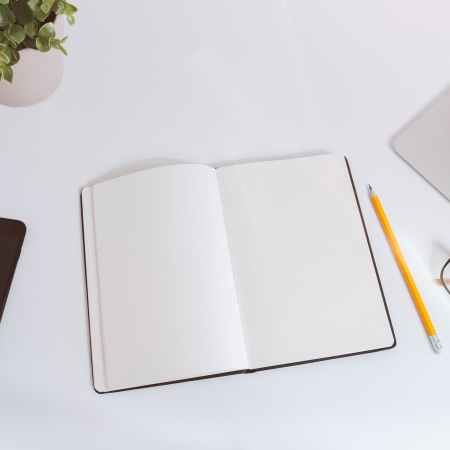 blank notepad, mybe write some famous facts about authors
