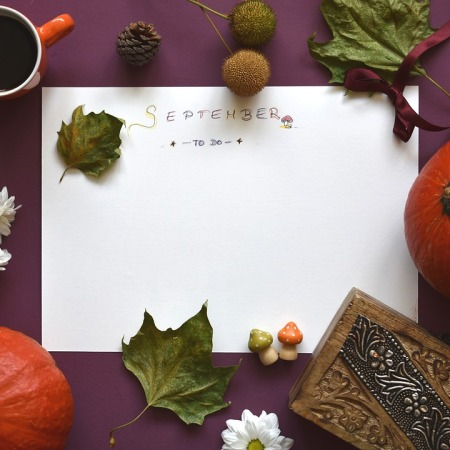 september to do list with autumn leaves, used as my blogging journey